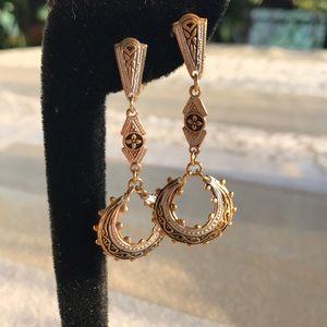Damascene Spain marked dangle earrings